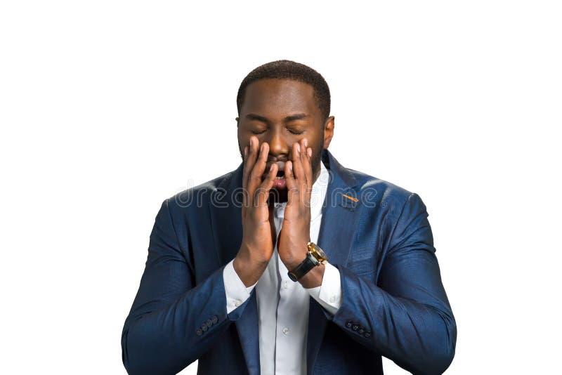 Szokujący afro amerykanin na białym tle obrazy royalty free