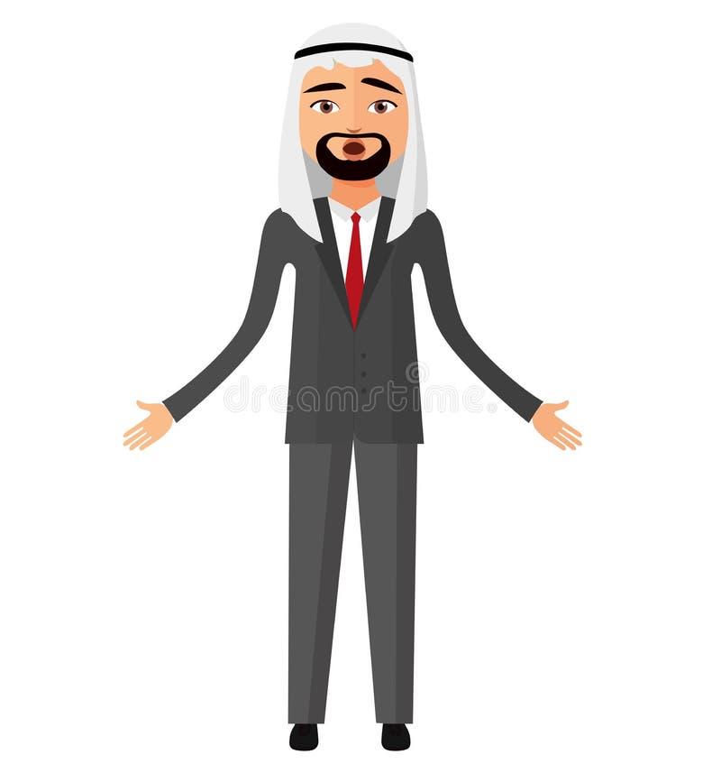 Szokujący arabski muzułmański płaski kreskówka biznesmen Zdziwiony saudyjczyk ma royalty ilustracja