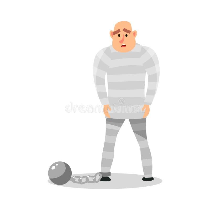 Szokujący bandyta w pasiastym więzieniu odziewa z balowymi łańcuchami ilustracji