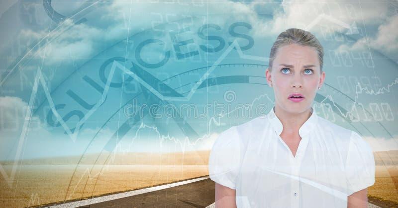 Szokujący bizneswoman z wykresami ilustracja wektor
