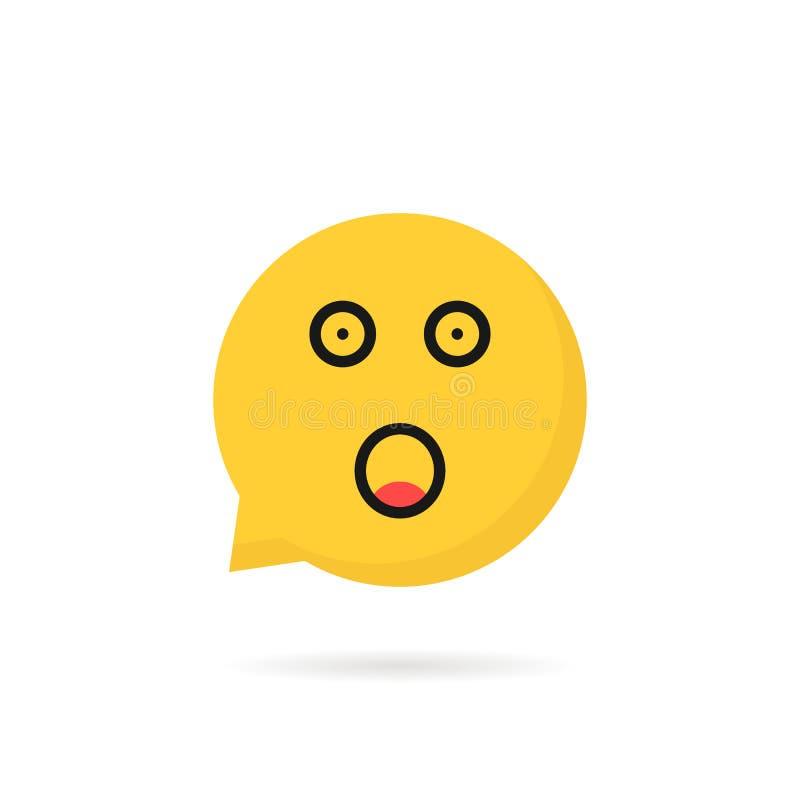 Szokujący emoji mowy bąbla logo na bielu ilustracji