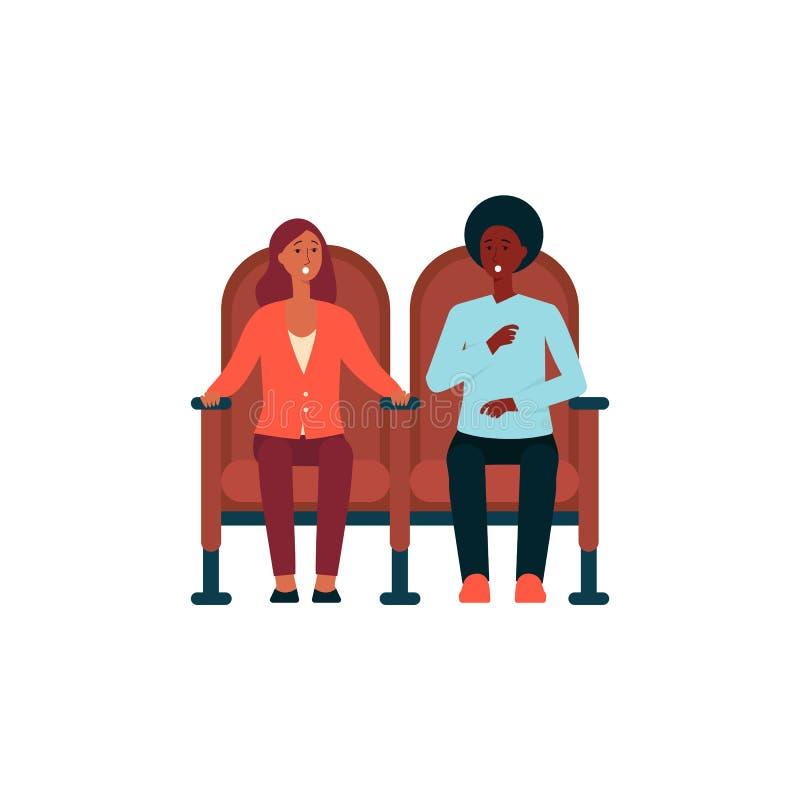 Szokujący pary obsiadanie w kinowym krzesło kreskówki stylu royalty ilustracja