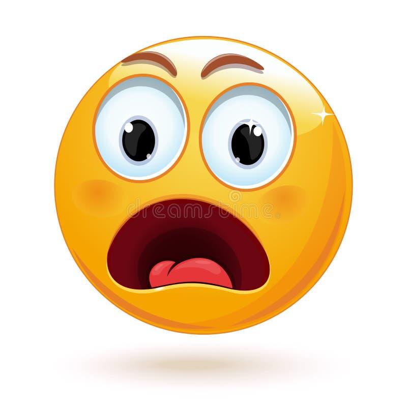 Szokujący twarzy emoji przygotowywa ikonę ilustracji