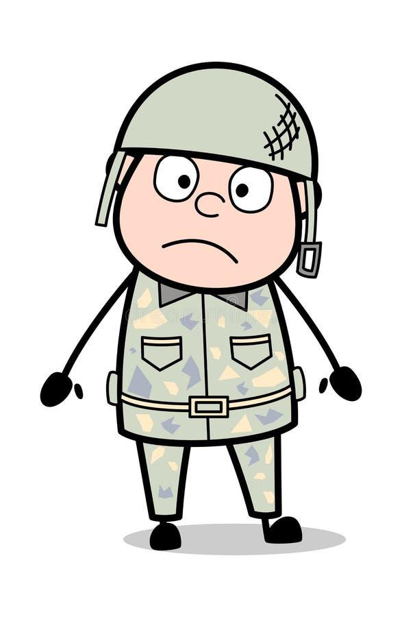 Szokuj?cy wyra?enie - ?liczna wojsko m??czyzny kresk?wki ?o?nierza wektoru ilustracja ilustracja wektor