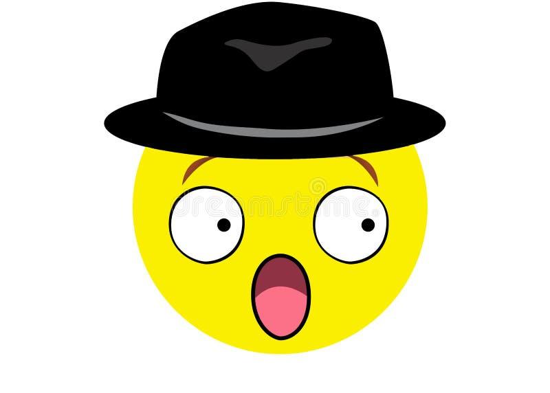 Szokuje emoji z dżentelmenu kapeluszem na białym tle ilustracja wektor