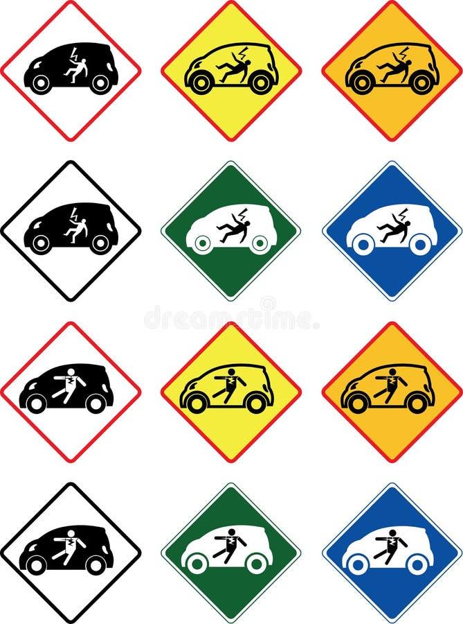 Szokuje ostrzeżenie w małym elektrycznego samochodu shap, wektor ruchów drogowych znaki obraz stock