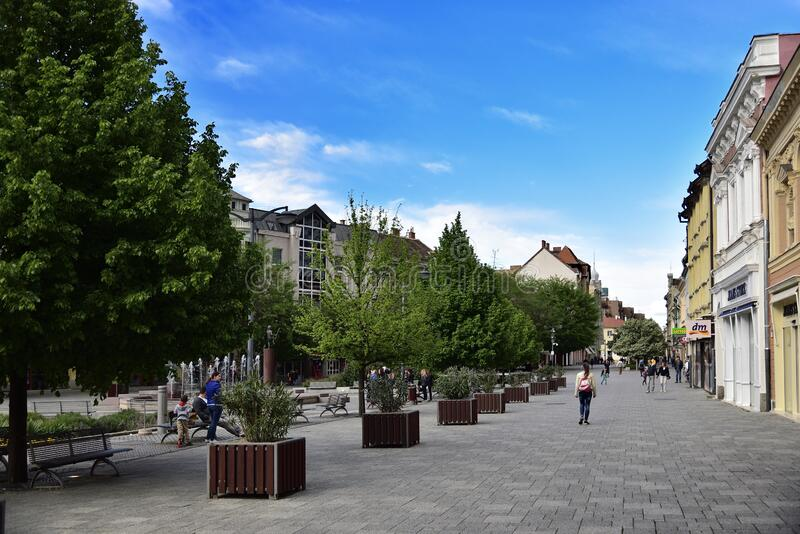 Late afternoon with blue sky above Old city square in Szombathely, Hungary stock photos