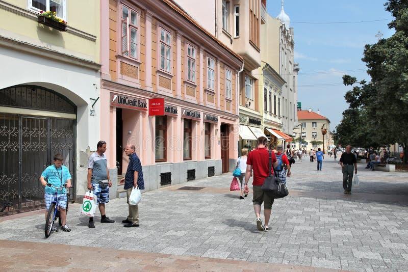 Szombathely city, Hungary. SZOMBATHELY, HUNGARY - AUGUST 10, 2012: People visit Old Town in Szombathely, Hungary. Szombathely is the 10th largest city in Hungary stock images