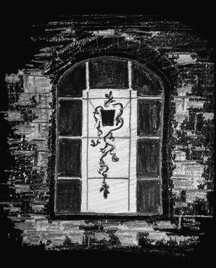Szorstki abstrakcjonistyczny wizerunek okno z kwiatem w garnku t?a rysunku o??wka drzewny biel ilustracji