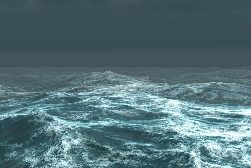 Szorstki błękitny ocean pod ciemnym niebem ilustracja wektor