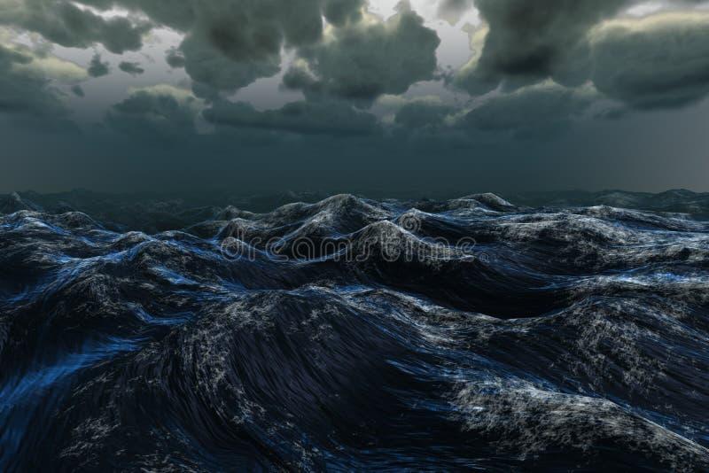 Szorstki błękitny ocean pod ciemnym niebem royalty ilustracja