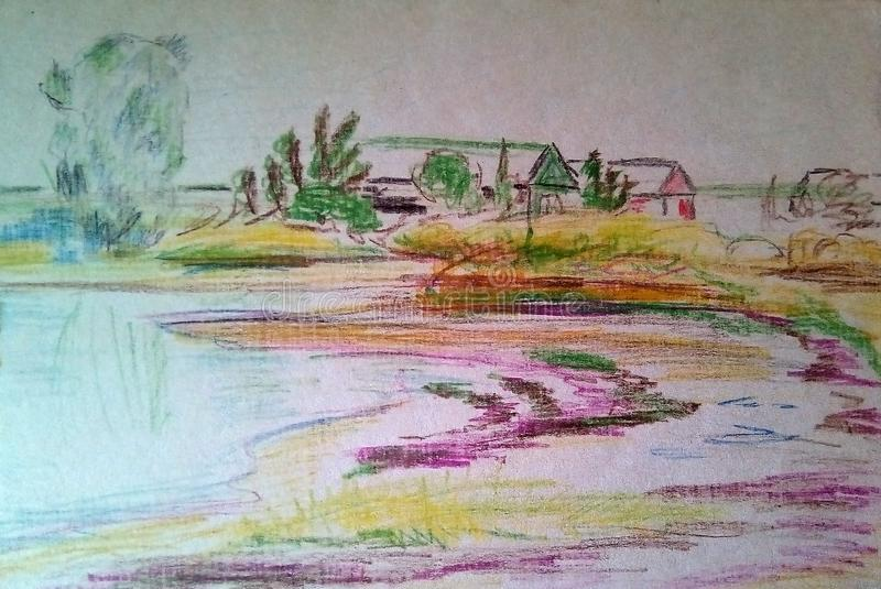 Szorstki nakreślenie krajobraz z barwionymi ołówkami na białej księdze ilustracji