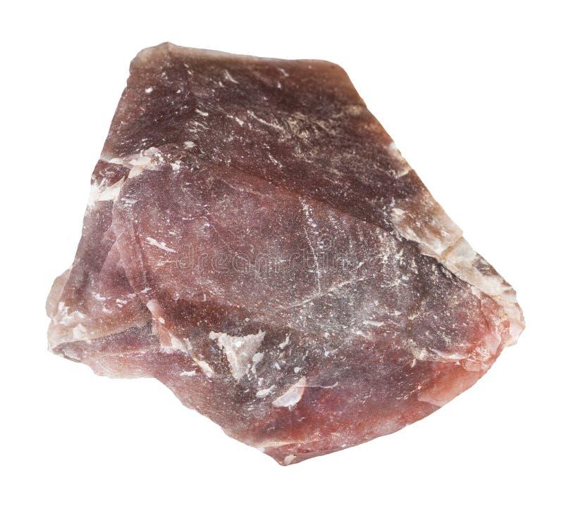 szorstki różowy krzemienia kamień odizolowywał (chalcedon) zdjęcie royalty free