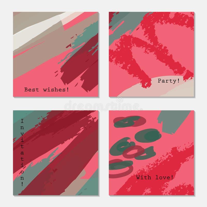 Szorstkie textured kredkowych uderzeń różowe czerwone szarość ilustracja wektor