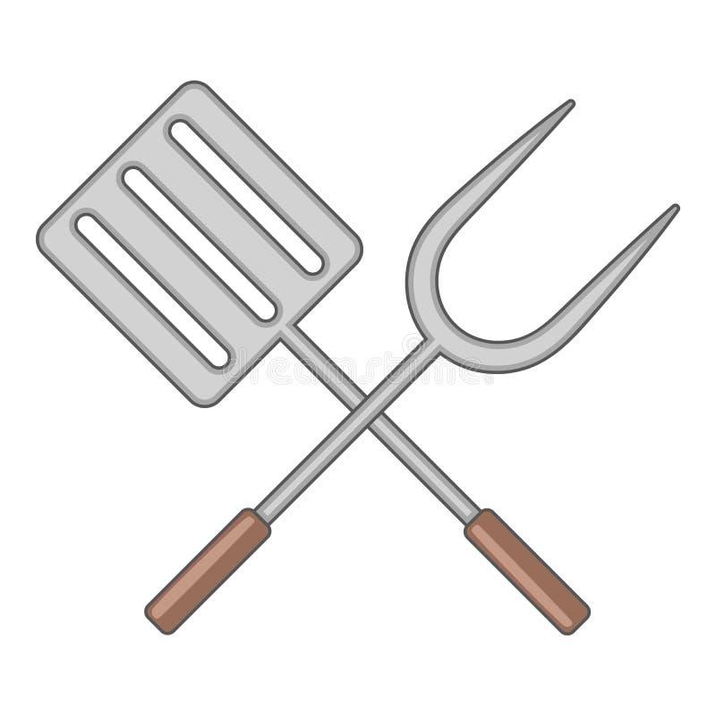 Szpachelka i grill rozwidlamy ikonę, kreskówka styl ilustracji