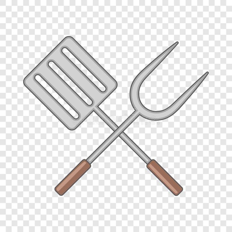Szpachelka i grill rozwidlamy ikon?, kresk?wka styl royalty ilustracja