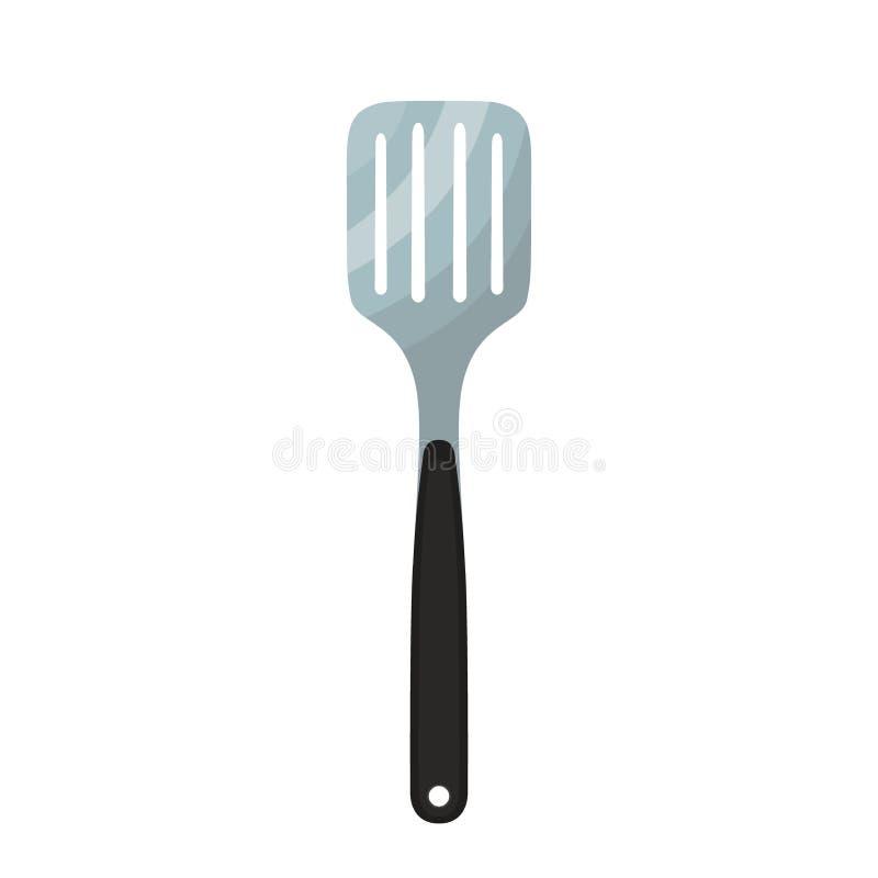 Szpachelki naczynie, metalu narzędzie dla grilla Robić w mieszkanie stylu ilustracja wektor