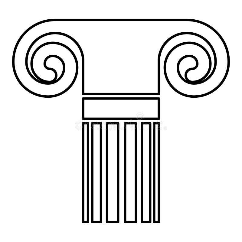 Szpaltowego antycznego stylowego Antykwarskiego klasycznego szpaltowego architektura elementu filaru ikony czerni koloru konturu  royalty ilustracja