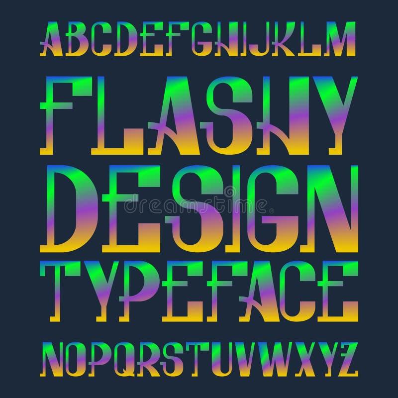 Szpanerski projekta typeface Tęcza mieszająca kolor chrzcielnica Odosobniony kolorowy angielski abecadło ilustracja wektor