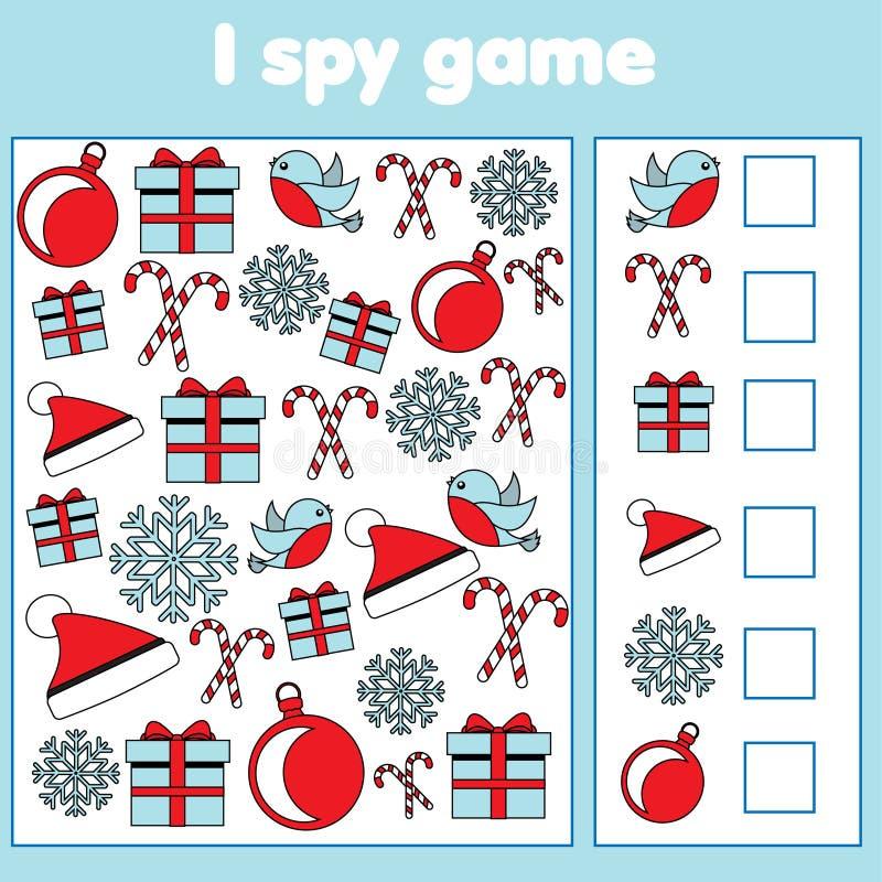 Szpieguję grę dla berbeci Znaleziska i obliczenia przedmioty Odliczająca edukacyjna dziecko aktywność Boże Narodzenia i nowy rok  ilustracji