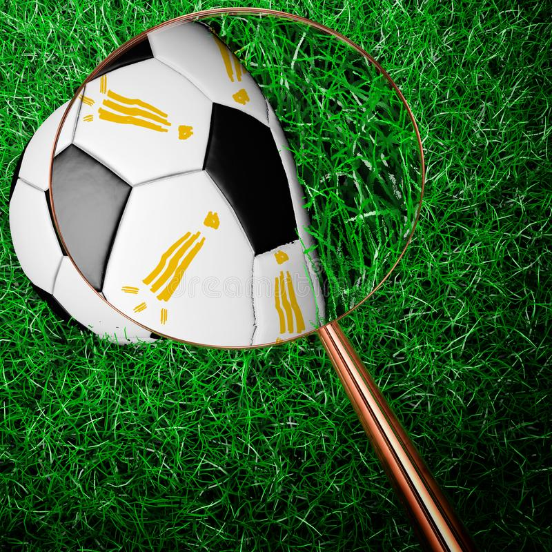 Szpieguje futbol z magnifier ilustracja wektor