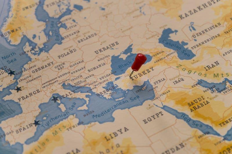 Szpilka na Ankara, indyk w światowej mapie zdjęcia royalty free