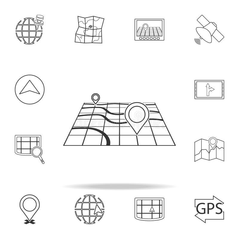 szpilka na 3d mapy ikonie nawigacj ikon ogólnoludzki ustawiający dla sieci i wiszącej ozdoby royalty ilustracja