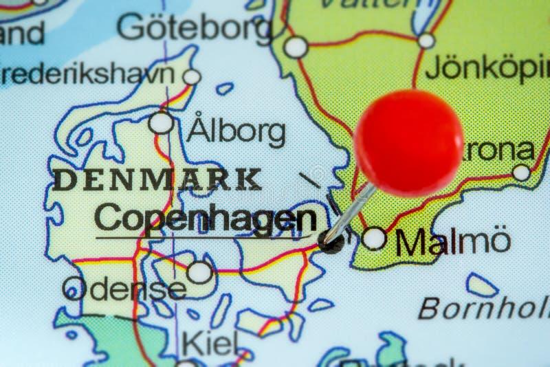 Szpilka na mapie Kopenhaga zdjęcie royalty free
