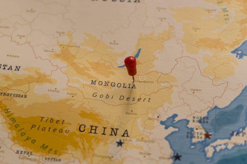 Szpilka na Ulaanbaatar, Mongolia w światowej mapie zdjęcia royalty free