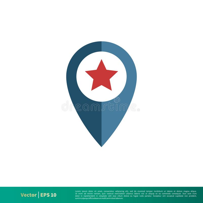 Szpilka, pointer mapy gwiazdy ikony logo Wektorowego szablonu Ilustracyjny projekt Wektor EPS 10 royalty ilustracja