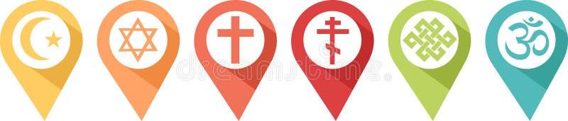 Szpilka różne religie ilustracja wektor