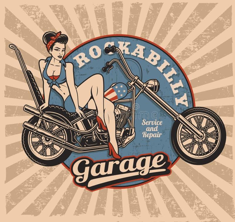 Szpilka w górę dziewczyny na motocyklu koloru wersi ilustracja wektor