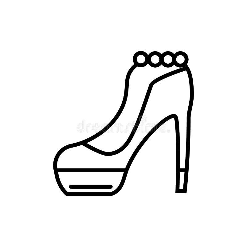 Szpilki buta linii ikona Eleganckiej kobiety buta wektorowa ilustracja odizolowywająca na bielu Obuwie konturu stylu projekt royalty ilustracja
