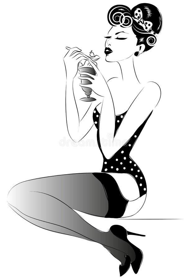 Szpilki kobiety portret z diety jedzeniem ilustracji