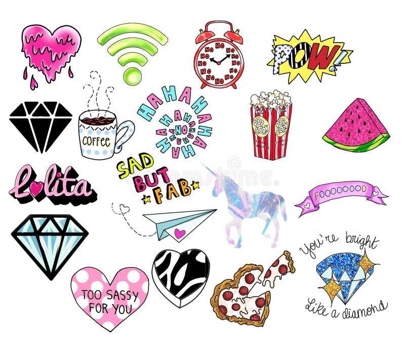 Szpilki lub łaty, znaczki, ikony, majchery tła cogwheel ilustraci odosobniony biel Diamentów kształty, serca, teksty, jednorożec, royalty ilustracja