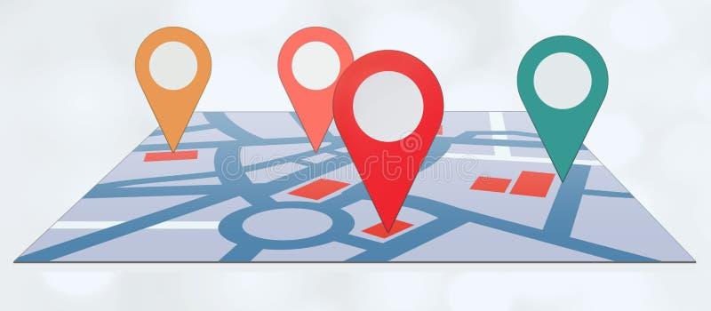 Szpilki na mapie zdjęcie stock