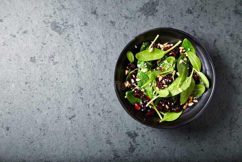 Szpinak sałatka z wysuszonymi cranberries i miodu opatrunkiem zdjęcia stock