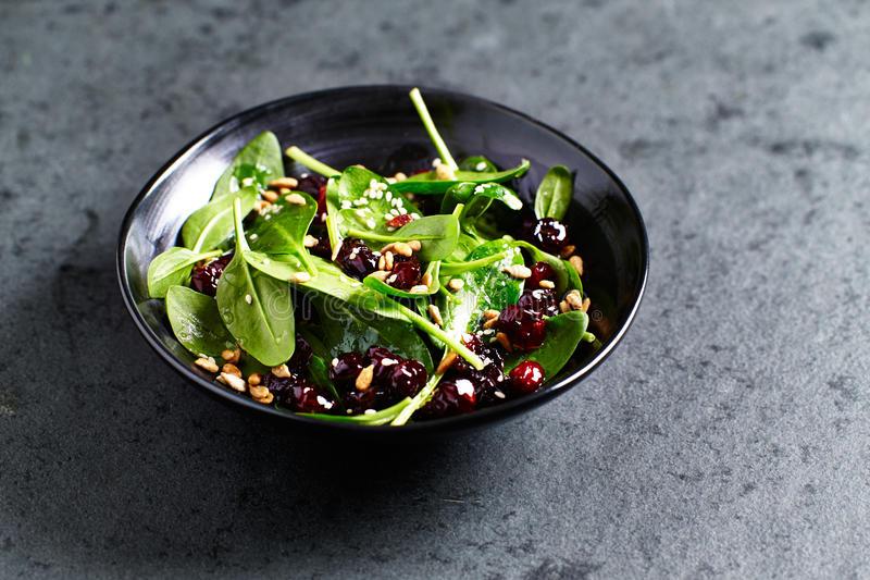 Szpinak sałatka z wysuszonymi cranberries i miodu opatrunkiem fotografia stock