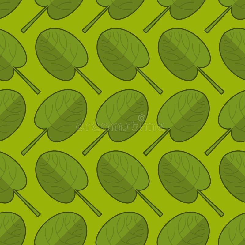 Szpinaka bezszwowy wzór Świeży zielony ornament Zielony sałaty te ilustracji