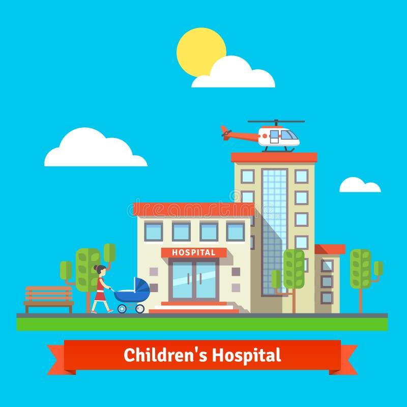Szpital dziecięcy i klinika budynek royalty ilustracja