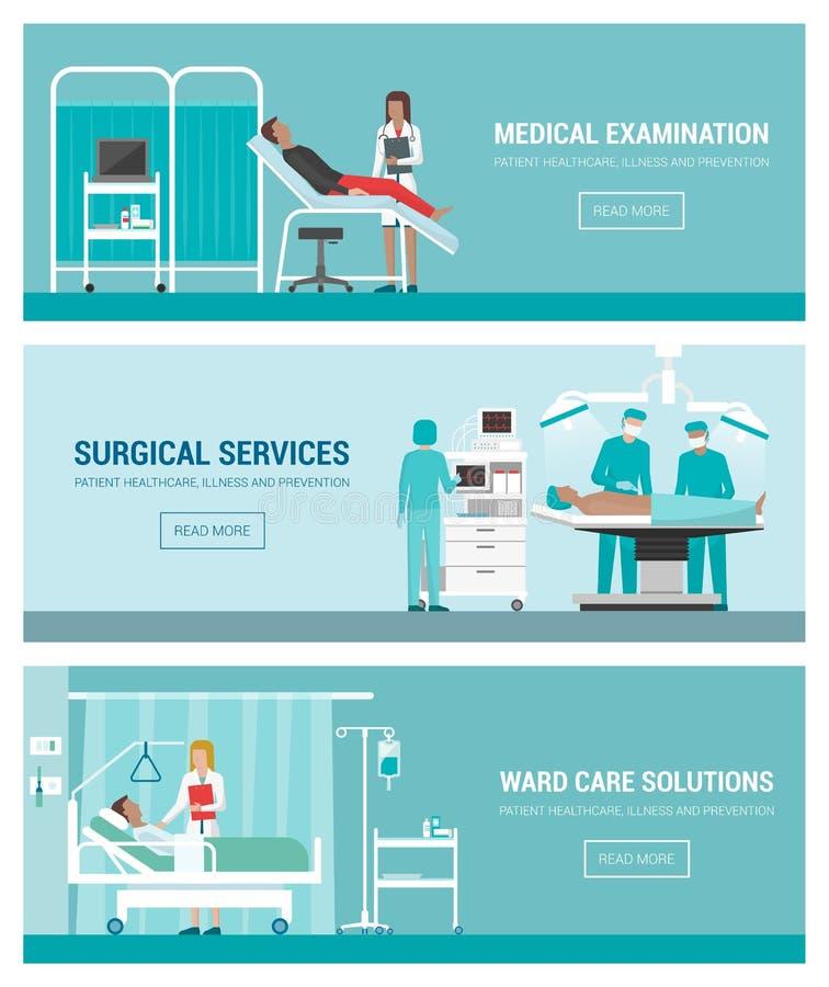 Szpital i opieka zdrowotna ilustracji