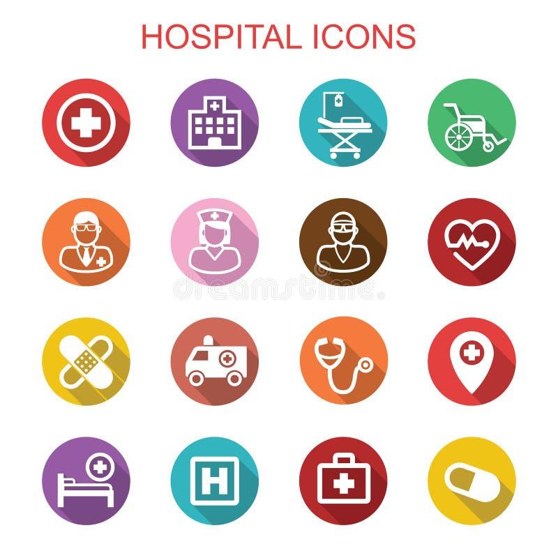 Szpitala cienia długie ikony ilustracja wektor