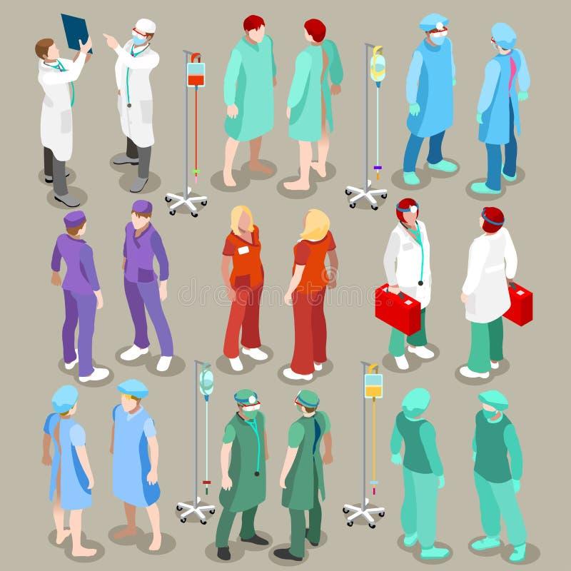 Szpitala 21 ludzie Isometric ilustracji