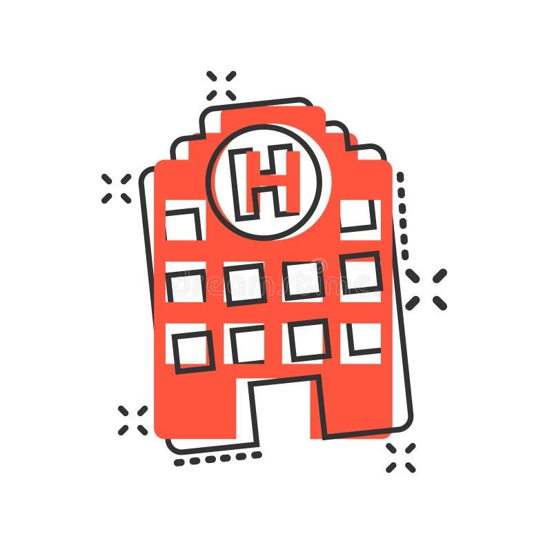 Szpitalna budynek ikona w komiczka stylu Stacjonarki kreskówki wektorowa ilustracja na białym odosobnionym tle Medyczna karetka ilustracja wektor