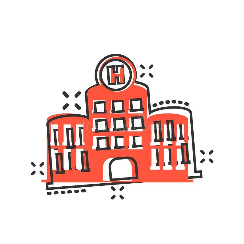 Szpitalna budynek ikona w komiczka stylu Stacjonarki kreskówki wektorowa ilustracja na białym odosobnionym tle Medyczna karetka ilustracji
