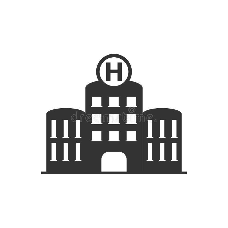 Szpitalna budynek ikona w mieszkanie stylu Stacjonarki wektorowa ilustracja na bia?ym odosobnionym tle Medyczny ambulansowy bizne ilustracja wektor