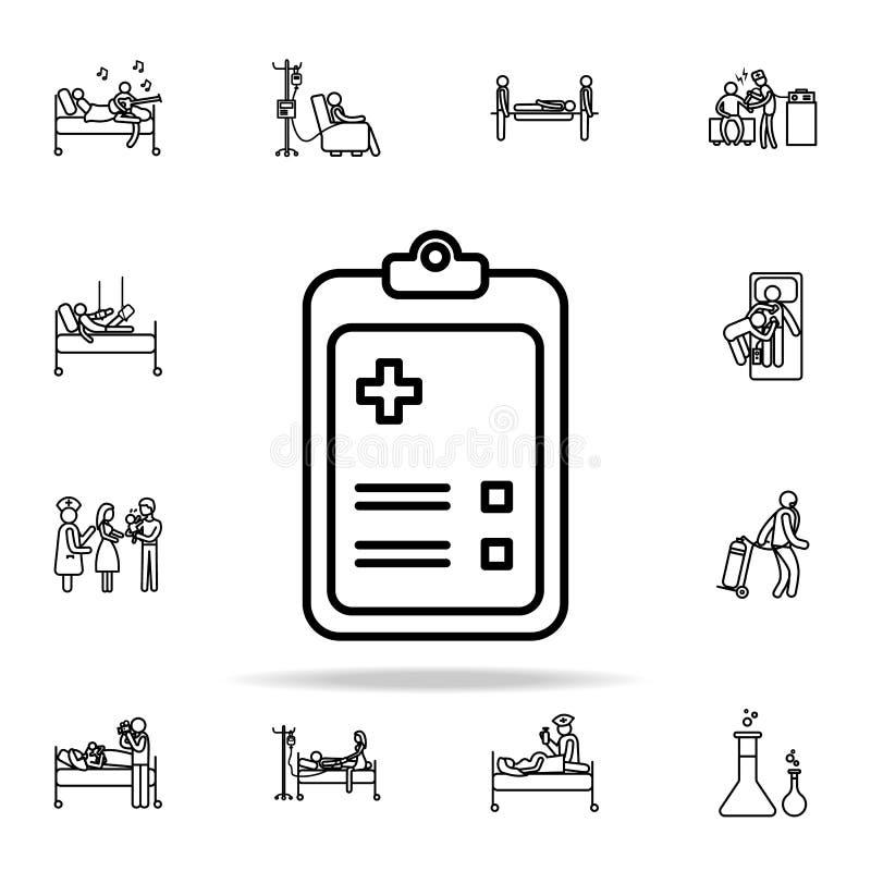 szpitalna rejestracyjna ikona Szpitalny ikony ogólnoludzki ustawiający dla sieci i wiszącej ozdoby ilustracja wektor