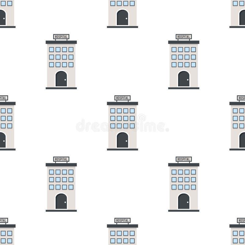 Szpitalnej budynek Płaskiej ikony Bezszwowy wzór royalty ilustracja