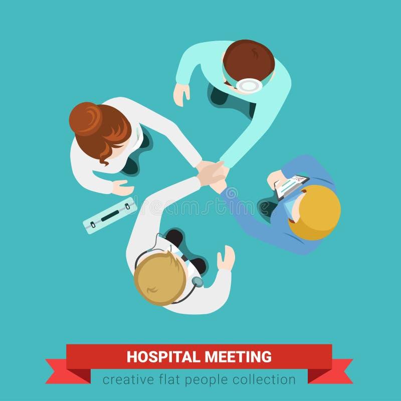 Szpitalnej medycznej uścisk dłoni drużyny medycyny lekarki cierpliwa pielęgniarka ilustracja wektor