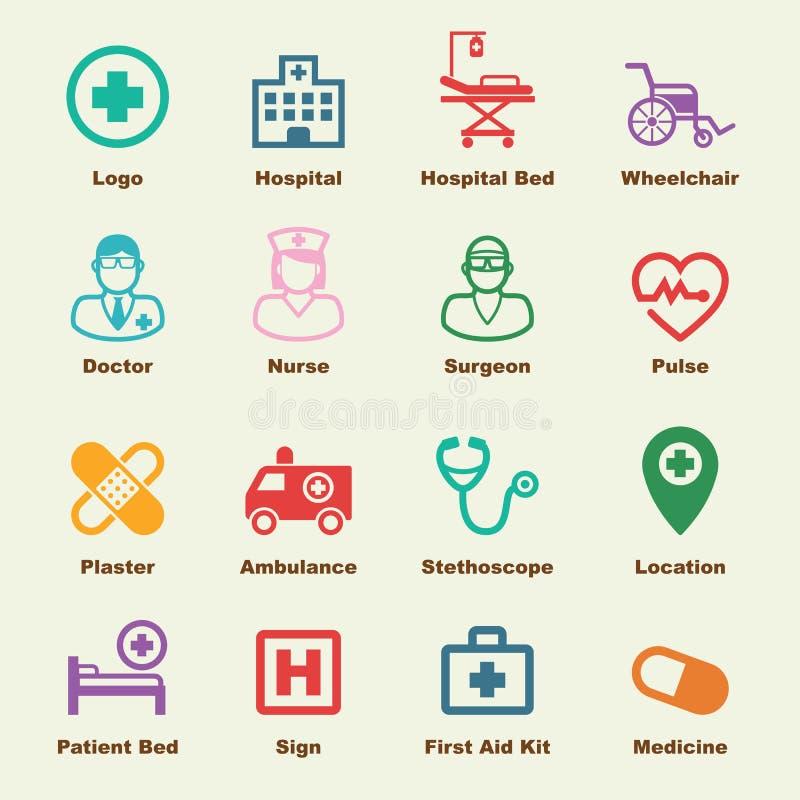 Szpitalni elementy ilustracja wektor